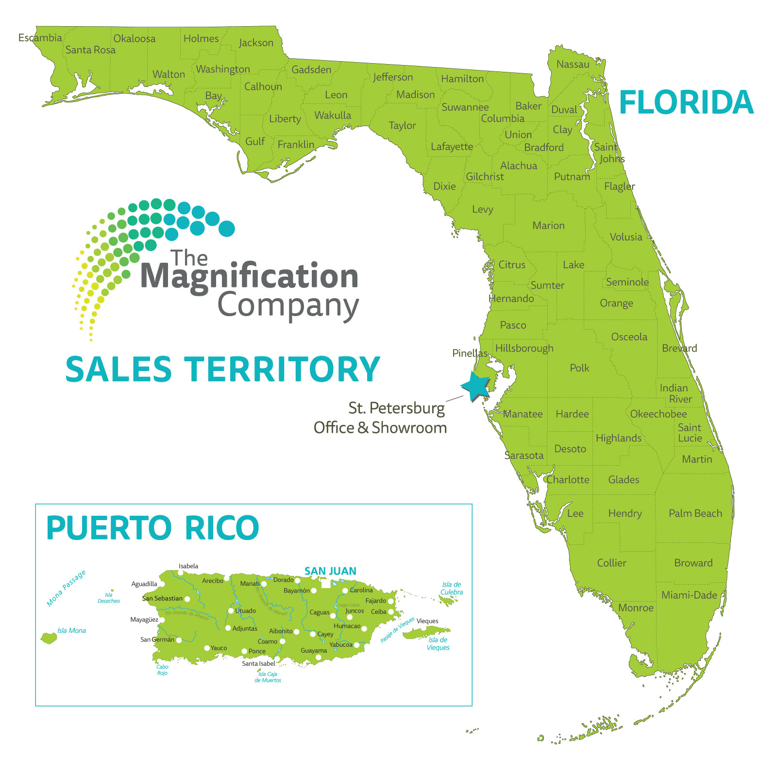 The Magnification company territory map - Florida and Puerto Rico